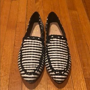 Black and white woven loafers